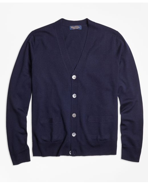Brooks Brothers | Blue Saxxon Wool Cardigan for Men | Lyst