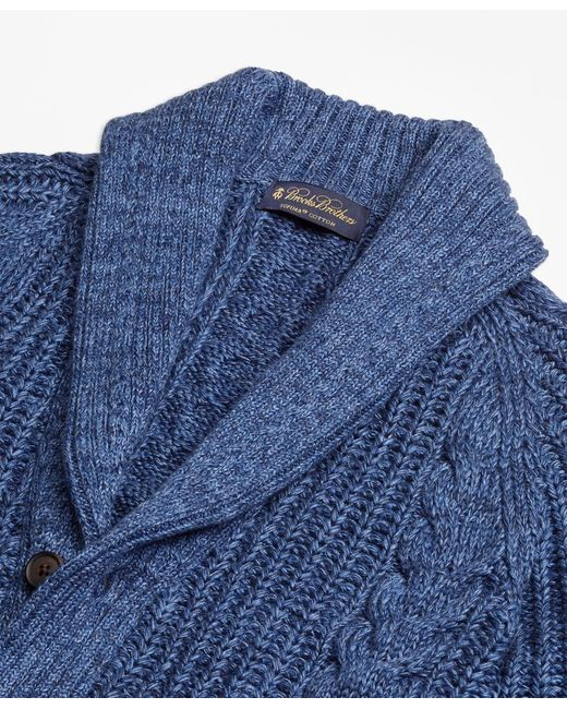 Brooks Brothers Supima 174 Cotton Marl Cable Knit Shawl