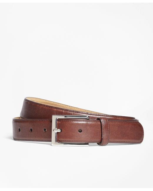 brothers soft leather dress belt in brown for