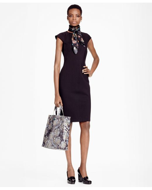 Brooks Brothers | Black Petite Ponte Knit Sheath Dress | Lyst