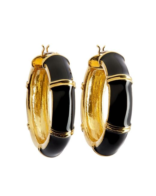 Brooks Brothers   Metallic Gold And Black Medium Hoop Earrings   Lyst