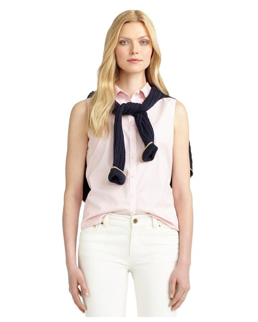 Brooks Brothers   Pink Non-iron Fitted Sleeveless Dress Shirt   Lyst