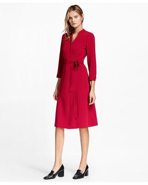 Brooks Brothers | Red Matte Satin Wrap Dress | Lyst