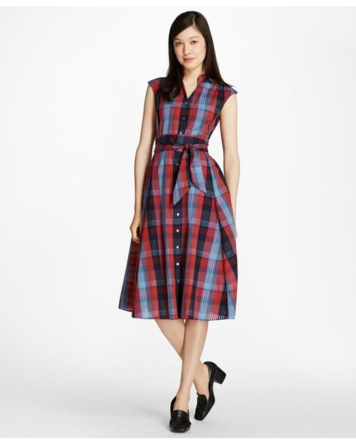 Brooks Brothers | Red Plaid Cotton Shirtdress | Lyst