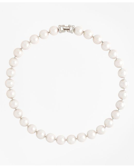 "Brooks Brothers | White 17"" 12mm Glass Pearl Necklace With Deco Clasp 
