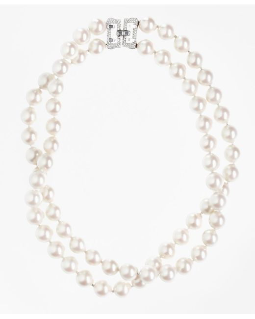 Brooks Brothers | White Two-row 12mm Glass Pearl Nested Necklace | Lyst