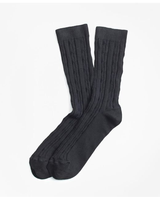 Brooks Brothers - Black Cable-knit Socks for Men - Lyst
