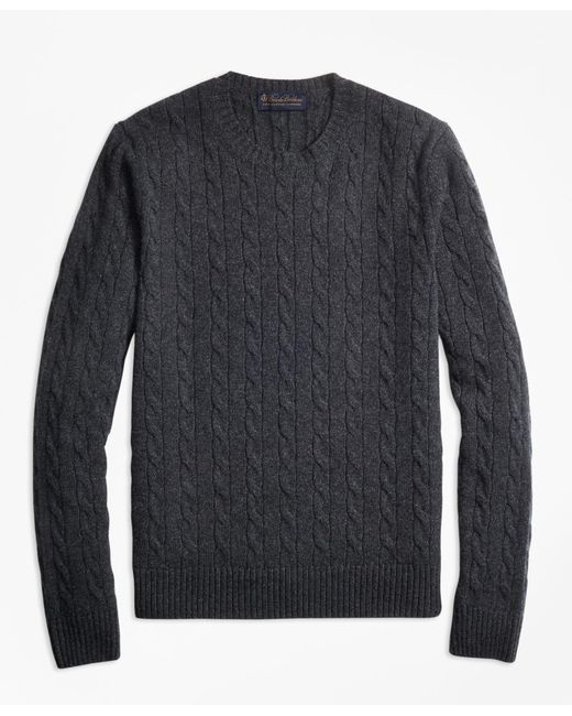 Brooks Brothers - Gray Two-ply Cashmere Cable Crewneck Sweater for Men - Lyst