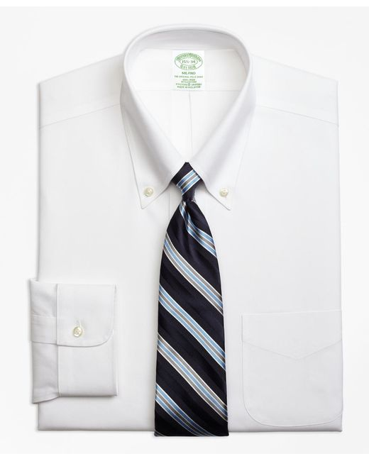 Brooks Brothers - White Non-iron Milano Fit Button-down Collar Stretch Dress Shirt for Men - Lyst