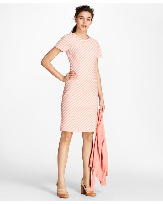 Brooks Brothers - Pink Gingham Double-weave Sheath Dress - Lyst