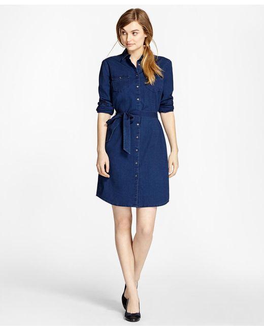 Brooks Brothers | Blue Cotton Chambray Shirt Dress | Lyst