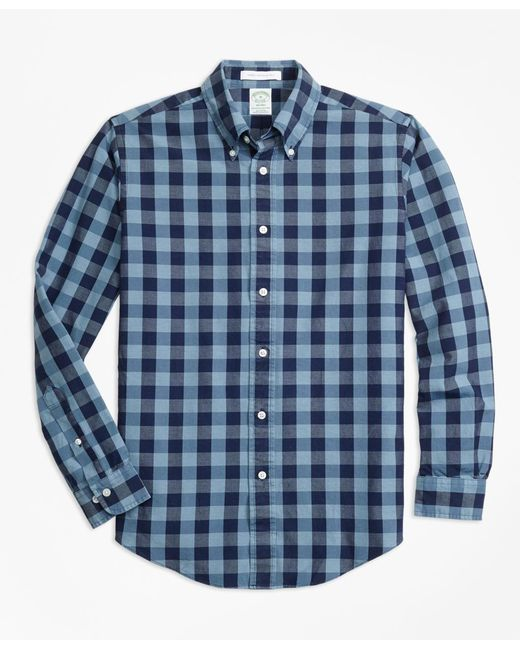 Brooks Brothers - Blue Milano Fit Indigo Gingham Sport Shirt for Men - Lyst