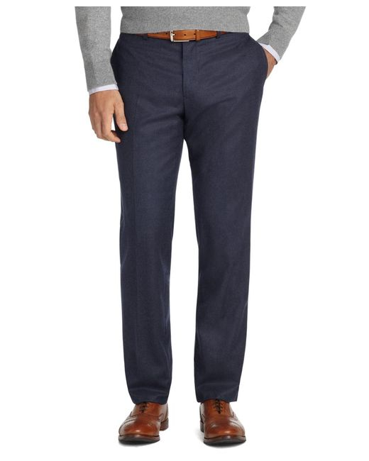 Brooks Brothers - Blue Milano Fit Plain-front Flannel Trousers for Men - Lyst