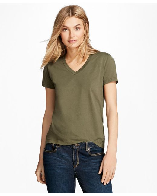Brooks Brothers - Green Garment-dyed V-neck T-shirt - Lyst