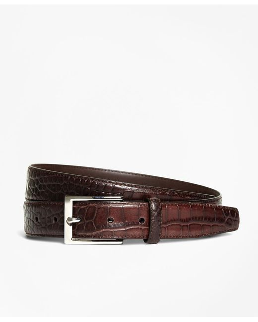 Brooks Brothers - Brown Embossed Leather Belt for Men - Lyst