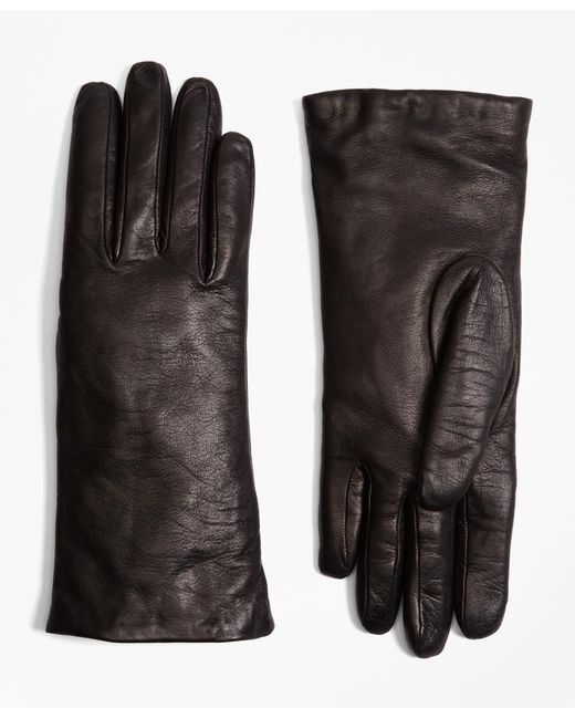 Brooks Brothers - Black Cashmere Lined Leather Gloves - Lyst