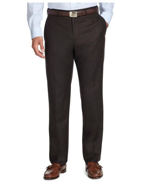Brooks Brothers - Brown Fitzgerald Fit Plain-front Flannel Trousers for Men - Lyst