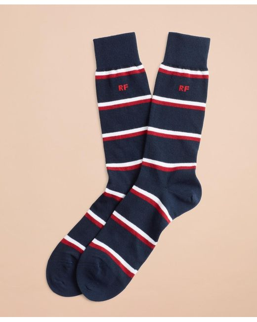 Brooks Brothers Blue Double Stripe Crew Socks for men