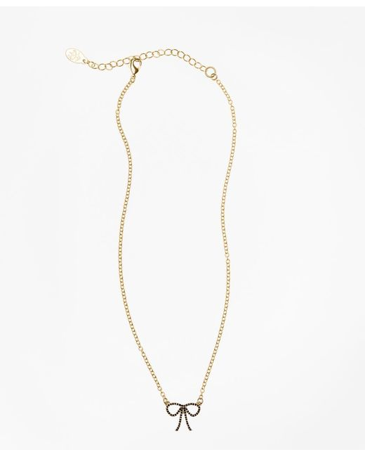 Brooks Brothers - Metallic Crystal Pave Bow Necklace - Lyst