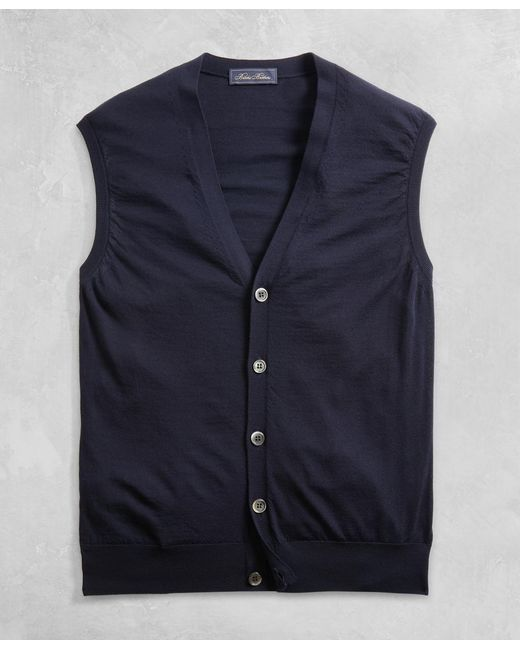 Brooks Brothers - Blue Golden Fleece® 3-d Knit Fine-gauge Merino Button Vest for Men - Lyst