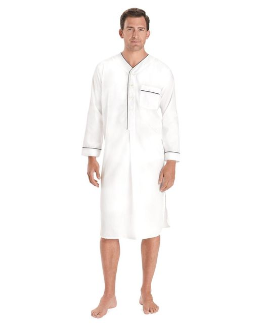 Brooks Brothers White Wrinkle-resistant Broadcloth Nightshirt for men