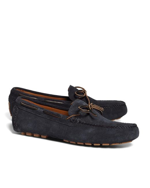 Brooks Brothers - Blue Suede Tie Driving Moccasins for Men - Lyst