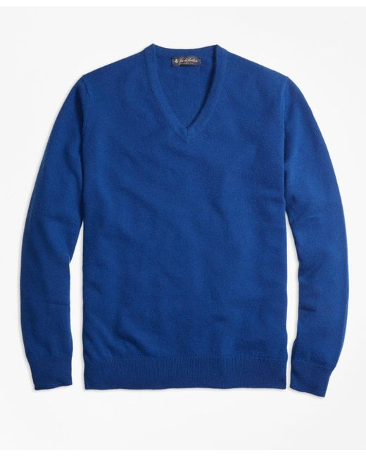 Brooks Brothers - Blue Cashmere V-neck Sweater for Men - Lyst
