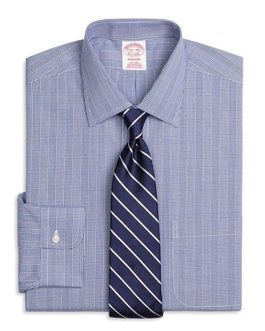 Brooks Brothers - Blue Madison Classic-fit Dress Shirt, Non-iron Glen Plaid for Men - Lyst