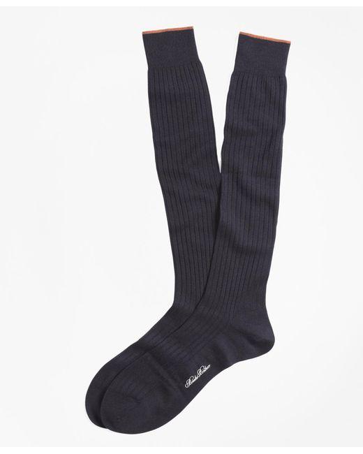 Brooks Brothers Blue Merino Wool Golden Fleece® Sized Over-the-calf Socks for men