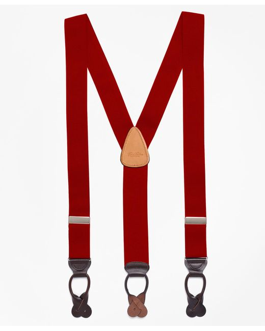 Brooks Brothers - Red Solid Suspenders for Men - Lyst