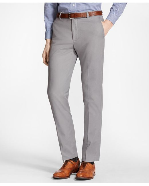 Brooks Brothers | Gray Milano Fit Piece-dyed Supima® Cotton Stretch Chinos for Men | Lyst