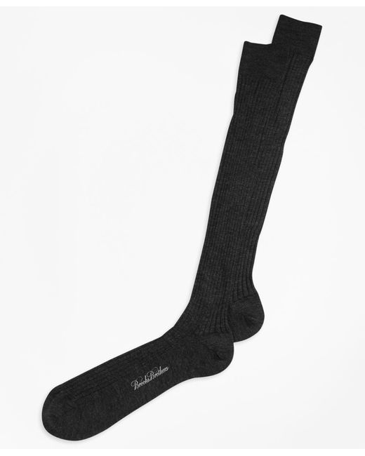 Brooks Brothers | Gray Merino Wool Ribbed Over-the-calf Socks for Men | Lyst