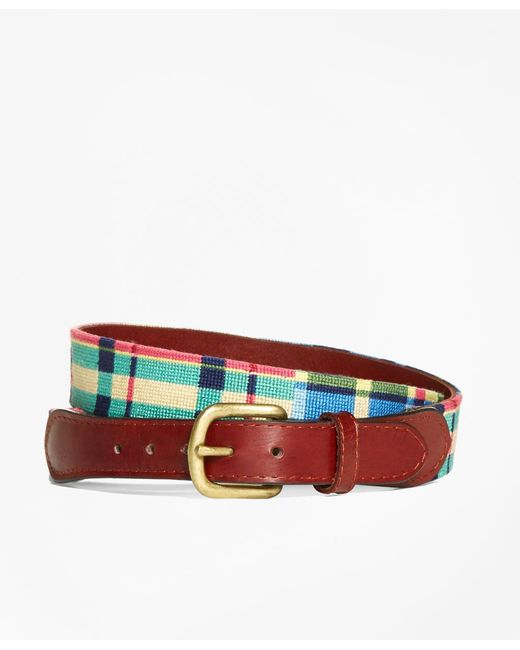 Brooks Brothers | Brown Needlepoint Patchwork Madras Belt for Men | Lyst