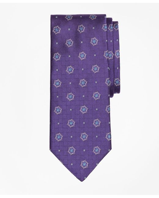 Brooks Brothers - Purple Parquet Ground Flower And Square Tie for Men - Lyst