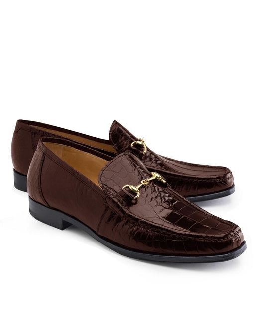 Brooks Brothers Brown Genuine American Alligator Classic Bit Loafers for men