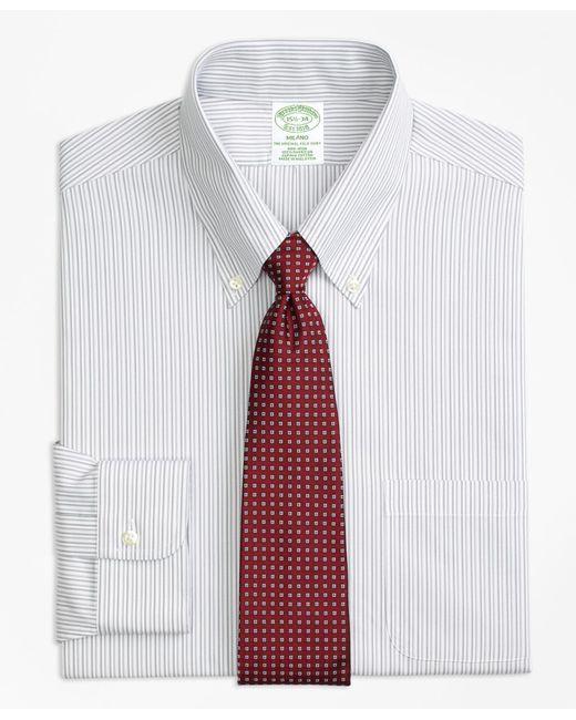 Brooks Brothers - Gray Milano Slim-fit Dress Shirt, Non-iron Tonal Stripe for Men - Lyst