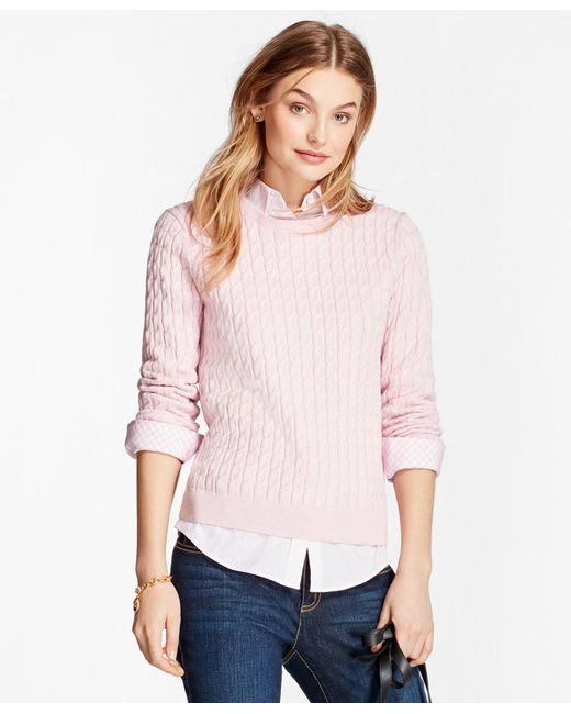 Brooks Brothers - Pink Cable-knit Cotton-cashmere Sweater - Lyst