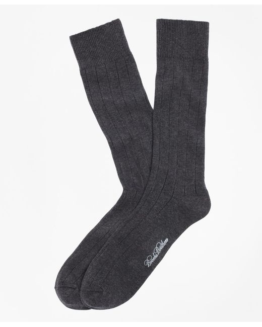 Brooks Brothers Gray Ribbed Crew Socks for men