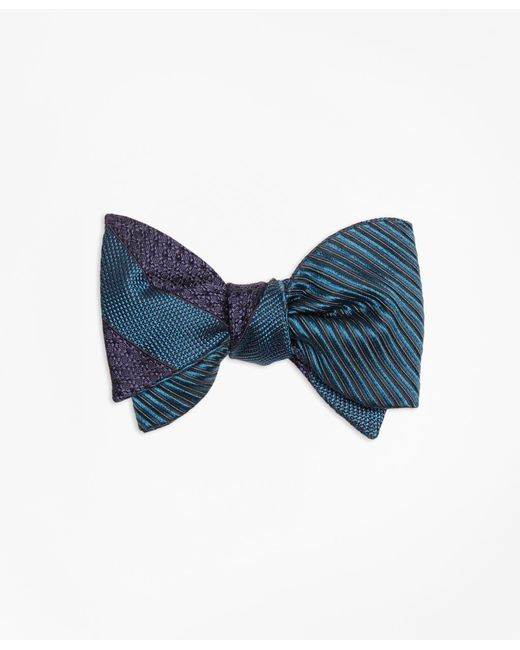 Brooks Brothers - Green Framed Textured Stripe With Horizontal Textured Reversible Bow Tie for Men - Lyst
