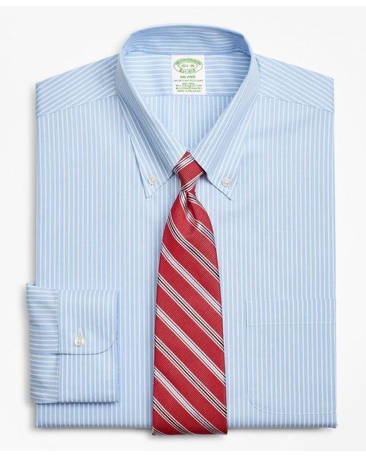 Brooks Brothers Blue Stretch Extra Slim Slim-fit Dress Shirt for men