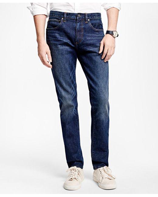 Brooks Brothers Blue 116 Slim Stretch Jeans In Indigo Denim for men