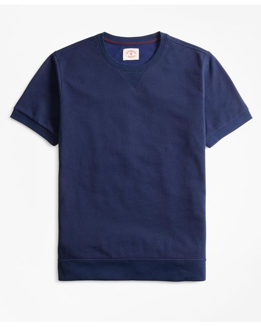Brooks Brothers - Blue French Terry Short-sleeve Sweatshirt for Men - Lyst