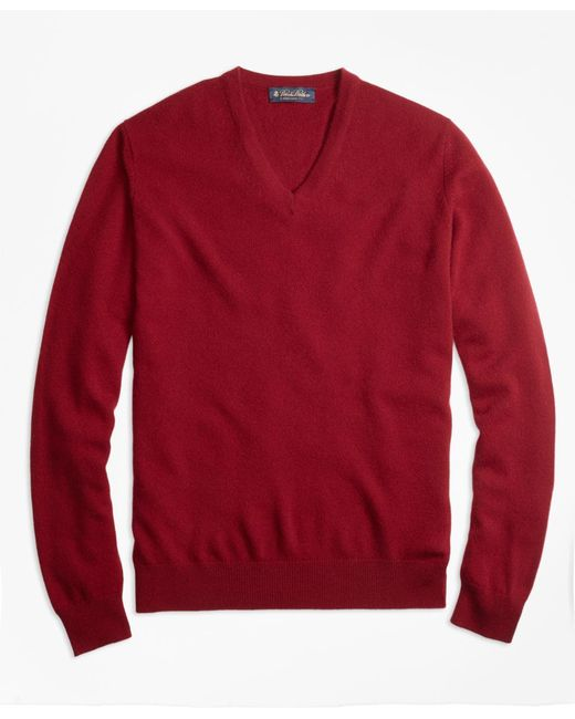 Brooks Brothers - Red Cashmere V-neck Sweater for Men - Lyst