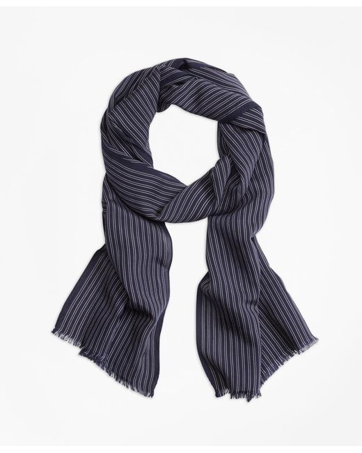 Brooks Brothers | Blue Double-pinstripe Scarf | Lyst