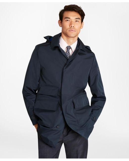 Brooks Brothers Blue Water-repellent Hooded Trench Coat for men