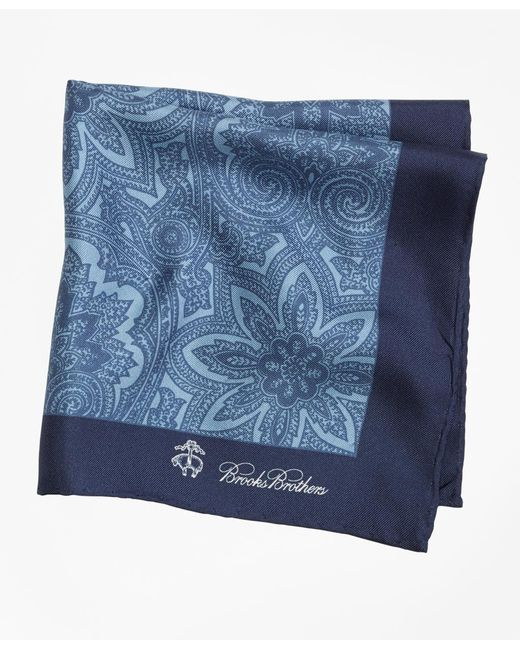 Brooks Brothers - Blue Paisley Pocket Square for Men - Lyst