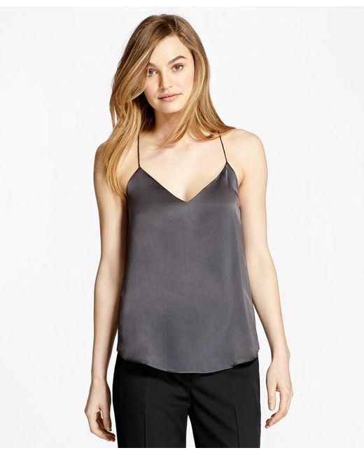 Brooks Brothers - Gray Silk Charmeuse Cami - Lyst