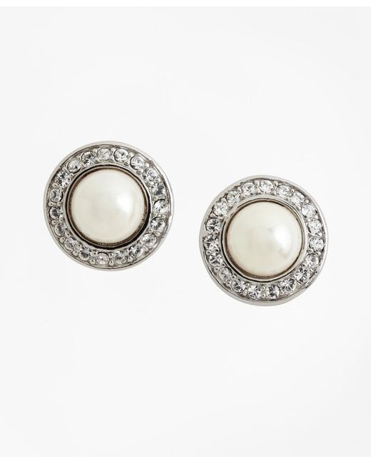 Brooks Brothers - Metallic 8mm Pave Glass Pearl Earrings - Lyst