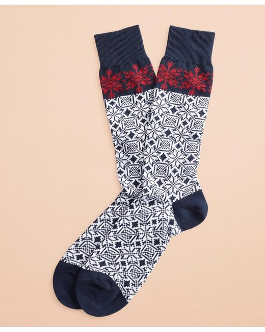 Brooks Brothers Blue Snowflake Cotton Stretch Crew Socks for men