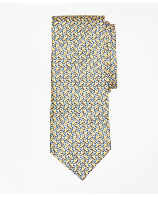 Brooks Brothers - Yellow Snowboarding Penguin Print Tie for Men - Lyst